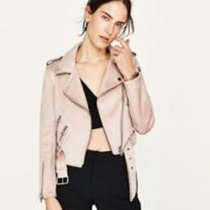 ZARA Moto biker jacket XS pink faux suede, EUC 😍